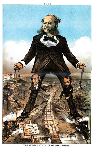"The ""Modern Colossus of Rail Roads"", showing the railroad tycoons of the late nineteenth century cornering the rail market."