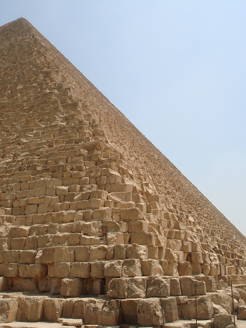 The jagged pyramid exterior without its smooth veneer.